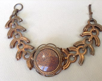 Goldstone Copper Link 1950s Bracelet