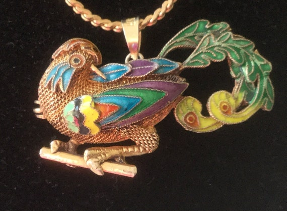 Antique Chinese Guilloche Silver/Gold Bird of Para