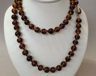 Les Bernard Amber Glass Bead Hand-knotted Necklace