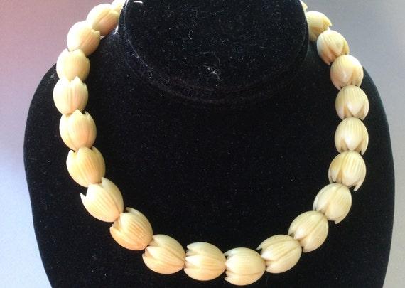 Pikake Antique Carved Bone Bead Necklace
