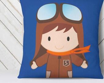 Baby Pillow Personalized, aviation decor, pilot gift, aviation nursery, aviation gifts, kids pillow cases, baby boy nursery decor // name it