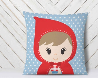 Personalized Nursery Pillow, Little Red Riding Hood Party, baby girl personalized gift, custom name pillow case, personalised pillow //18 in