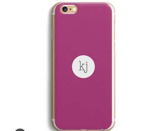 Pink iPhone 7 Plus Case, Pink iPhone 6 Case,  Pink iPhone 7 Case, Pink iPhone Case //  More Colors // 2 or 3 Initials