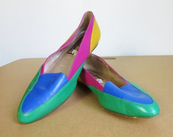 Vintage 80s Candy-Colored Leather Loafers - Women's Size 8
