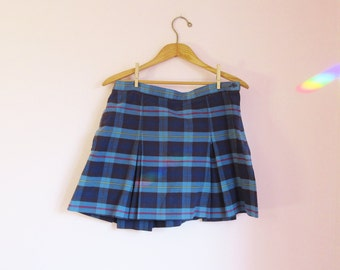 Vintage 90s Plaid School Girl Mini Skirt - Size Women's S/Girl's L/XL