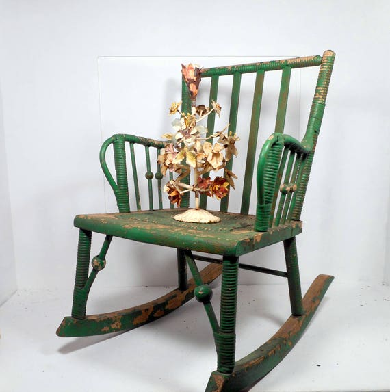image 0 - Antique Child's Rocking Chair With Woven Seat, Chippy Green Paint, 1800s  Kids Chair, Antique Rocker