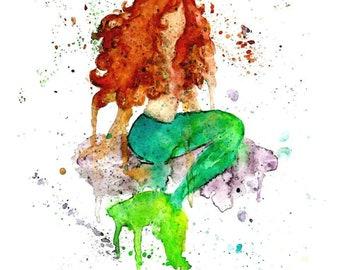 Watercolor Mermaid Giclee Print