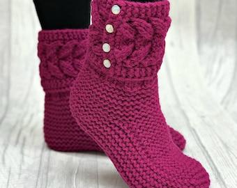 Leg Warmers - Knitted Socks - Leg Warmers Womens - Wool Socks - Leg Warmers Wool - Socks Womens - Slipper Boots - Purple Socks