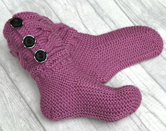 Adult Socks - Hand Knit Socks Adult - Adult Slippers - Christmas Slippers - Women Socks - Wool Boot Socks, Wool Slippers Women, Winter Socks