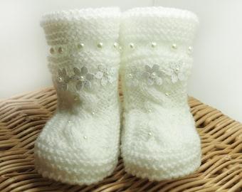 Items similar to Hand knitted baby socks, white, newborn 0