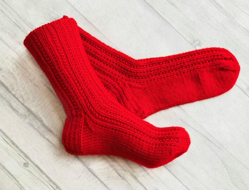 5fa198eb23b5 Red Wool Socks Red Socks Red Clothing Hand Knit Socks | Etsy