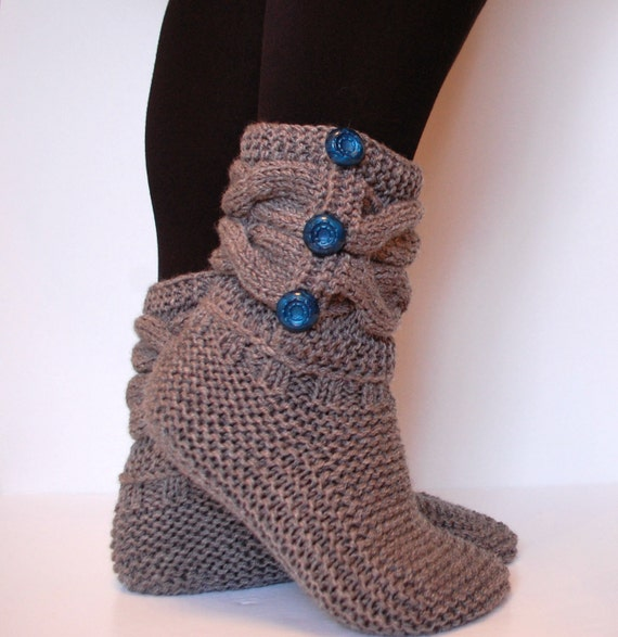 Slipper Boots Knitted Slippers Knitted Socks Wool Etsy
