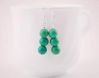 Turquoise Earrings - Turquoise Jewelry - Turquoise Jewellery - Natural Turquoise - Drop Earrings - Beaded Earrings - Silver Earrings