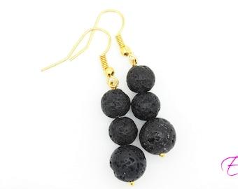Black Earrings - Natural Earrings - Black Jewelry - Black Lava Jewelry - Protection Earring - Stone Earrings - Diffuser Jewelry