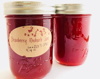 Strawberry Rhubarb Jam, Maine, Maine fruit, jams, Maine Made, half pint, Rhubarb Strawberry Jam