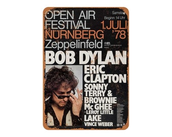Vintage Look 1978 Bob Dylan and Eric Clapton in Germany Metal Sign