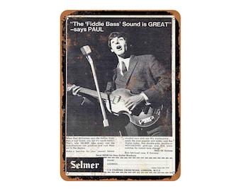 1964 Paul McCartney for Hofner Bass Guitars Metal Sign Vintage Look Repro