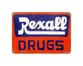 "REXALL DRUGS Vintage Reproduction Aluminum 9/"" x 12/"" Sign"