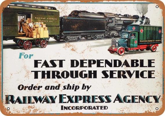 Railway Express Agency Metal Advertising Sign REA Vintage Railroad  SIG-0178