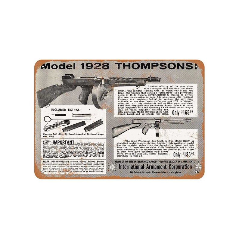 1962 Model 1928 Thompson Submachine Guns Vintage Look Metal Sign
