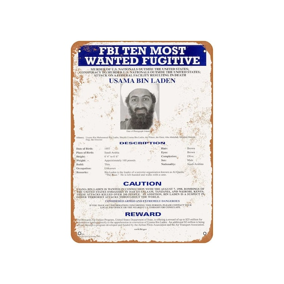 2001 Osama Bin Laden Wanted Poster Vintage Look Reproduction Metal Sign