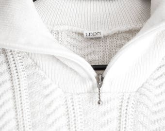 Retro 90s Cable Knit Jumper Sweater Pullover with Metal Zip Up - Thick Winter Knit Size S