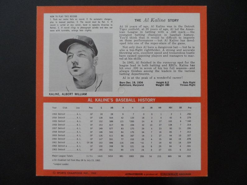 Al Kaline Original 1964 Auravision 33 13 RPM Baseball Record