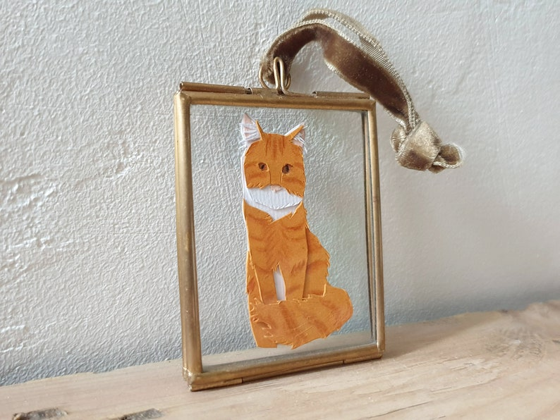 Custom Mini Pet portrait papercut art of your pet image 0