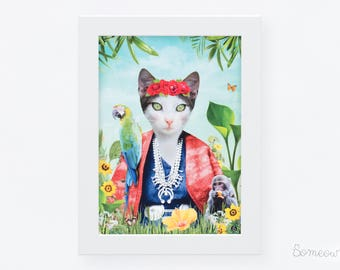 Cat portrait inspired by the painter Frida Kahlo. 5x7 print of a cat called Frida Cathlo. White cat, vegetation, flowers, parrot and monkey.