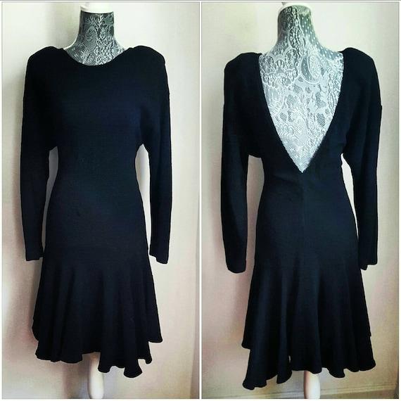 80er Jahre Vintage Kleid. Jahrgang LBD. Schwarze Vintage