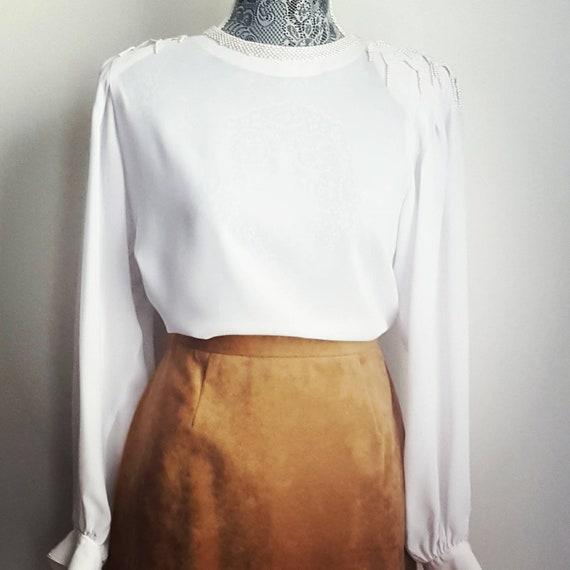 Retro ultra suede midi skirt. 70s vintage pencil … - image 2