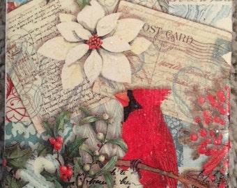 Poinsettia and Cardinal Ceramic Tile Coasters (set of 4)