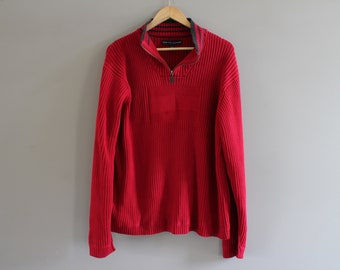 e558ac62f Tommy Hilfiger Red Jumper 100% Cotton High Neck Sweater Pullover Slouchy  Unisex Knit Minimalist Vintage 90s Size XL #K099A