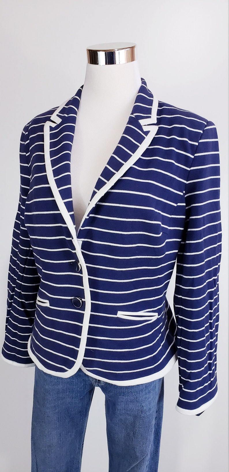 Cotton Navy Blue Blazer Vintage 90s Fitted Blazer Stripe Blazer Button Up Jacket  Vintage Size S O158A
