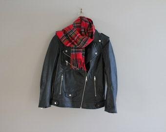 Classic Black Biker Jacket Premium Soft Vagan Leather Satin Lining Timeless Biker Jacket 90s Vintage Size S #O142A