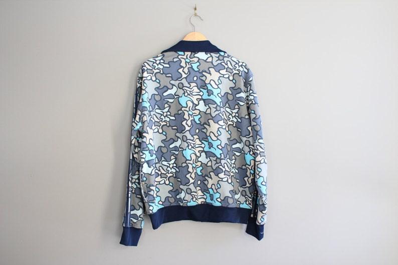 1a655baa59262 Rare Adidas Zip Up Jacket Blue Camouflage Sweatshirt 90s athletic Trefoil  Logo Adidas Bomber Jacket Size XL #O040A
