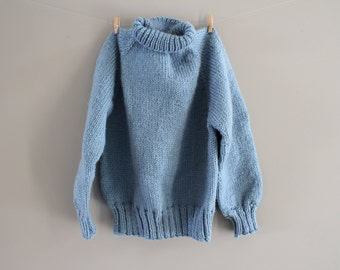 Hand Knitted Toddler Sweater Plain Blue Sweater High Neck Boys Gift Handmade Sweater Sweater Size 3 to 4 Years Old