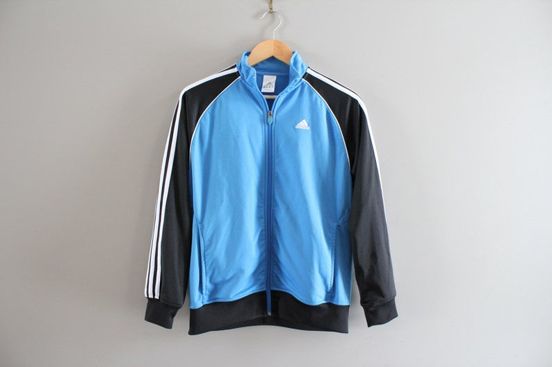5c37eac7ac556 Adidas Zip Up Sweatshirt Adidas Bomber Jacket 3 Strips Hipster Activewear  Vintage Minimalist 90s Size Youth Large #T106A