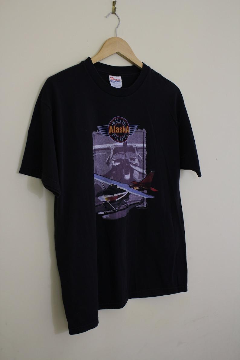 Pilot T-shirt Bush Alaska Pilots T-shirt Aviator Tee Aero T-shirt Streetwear Distressed Retro Unisex Vintage Size L T322A