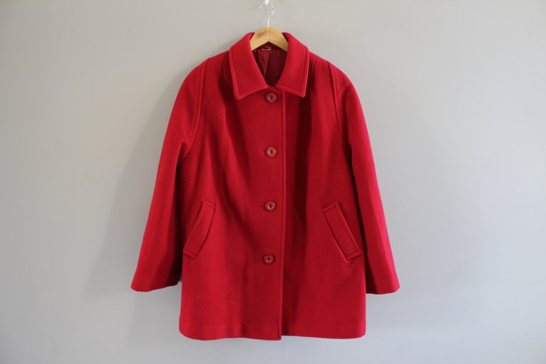 Pure Virgin Wool Coat Red Wool Winter Overcoat Cocoon Wool Coat Minimalist Oversized Vintage Size M-L Made in UK 90s O197A