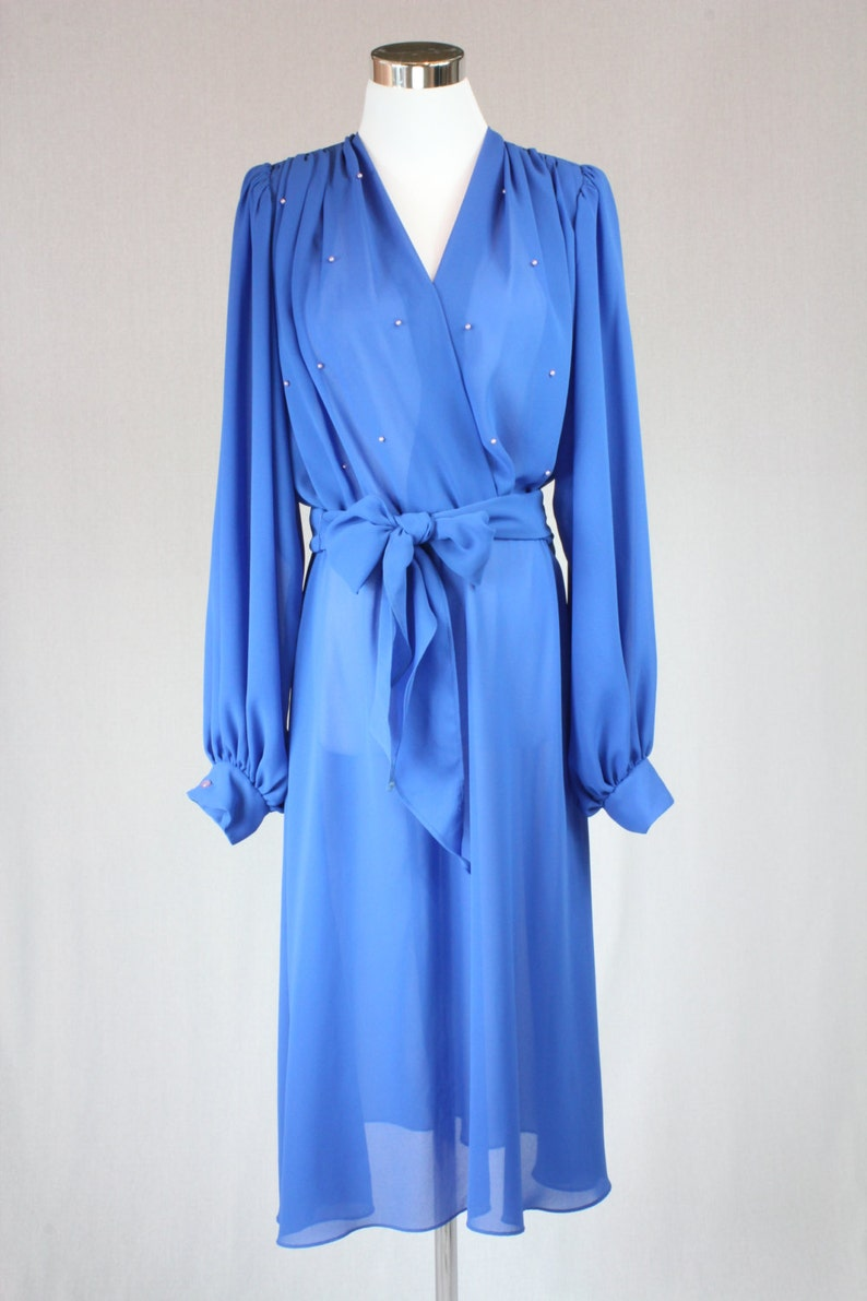 ac747b9e17f Vintage 60s bright royal blue chiffon dress   cocktail dress