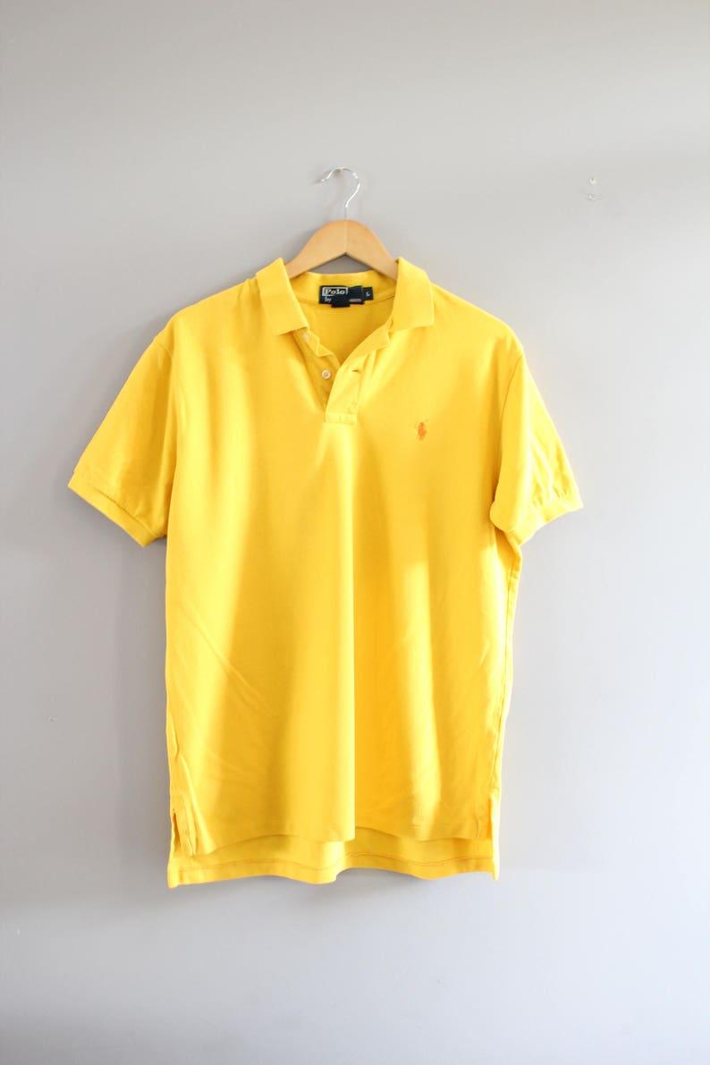 Up Size Cotton Ralph Vintage Shirt Lt186a Tee Minimalist Short Button Classic Sleeve Yellow Polo Lauren 90s Knit TJcKFl13