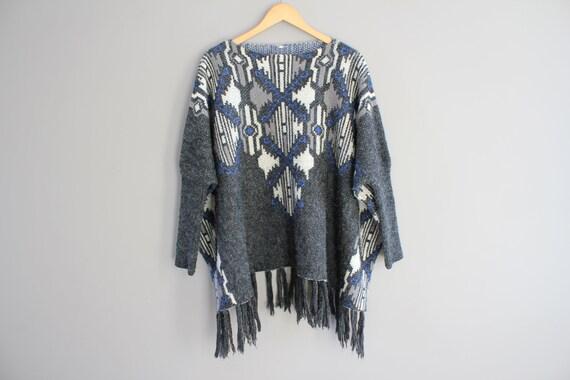 Acrylic Knitted Poncho Asymmetric Poncho Tassel Po