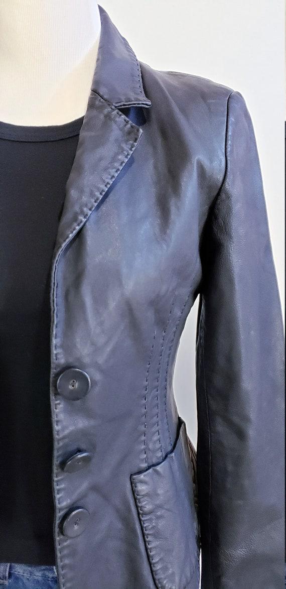 Genuine Leather Black Blazer Jacket Genuine Leath… - image 3