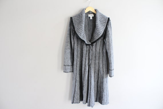 Mohair Wool Blend Long Knitted Cardigan Grey Wool