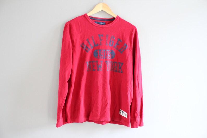 4dde1b68b Tommy Hilfiger Sweatshirt New York Red Crewneck Long T-Shirt   Etsy