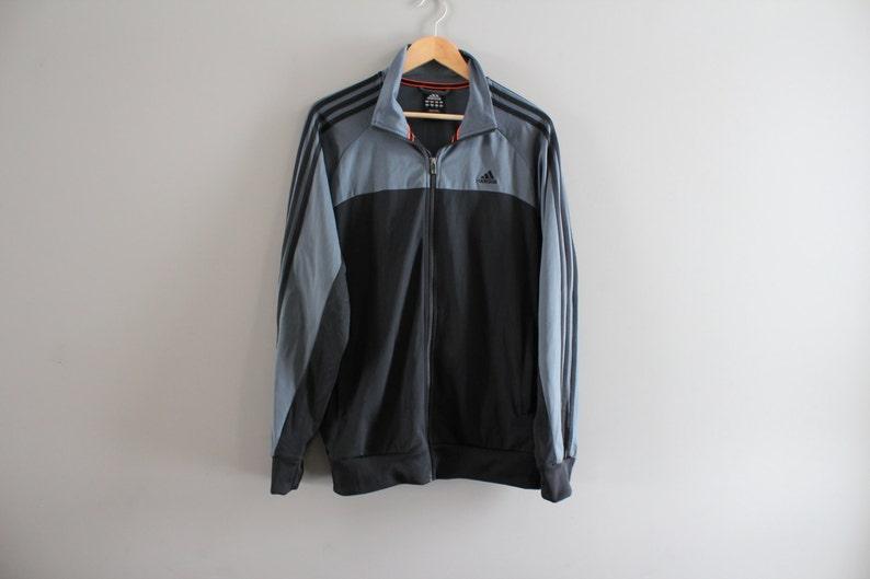 a88e14cf51b8a Adidas Bomber Jacket Adidas Zip Up Sweatshirt Black 3 Strips Hipster  Activewear Vintage Minimalist 90s Size Large #T107A