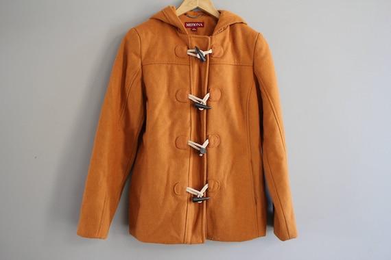 Size S Wool Blend Orange Duffle Coat Hooded Wool P