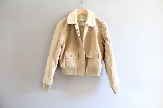 Size S Genuine Suede Leather Bomber Jacket Shearli