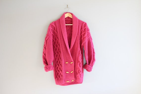 Handmade Wool Mix Pink Cardigan Cable Knit Cardiga